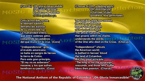 Colombia National Anthem with music, vocal and lyrics
