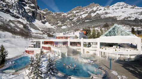 Family-Friendly Leukerbad Therme Hot Pools and Water Slides