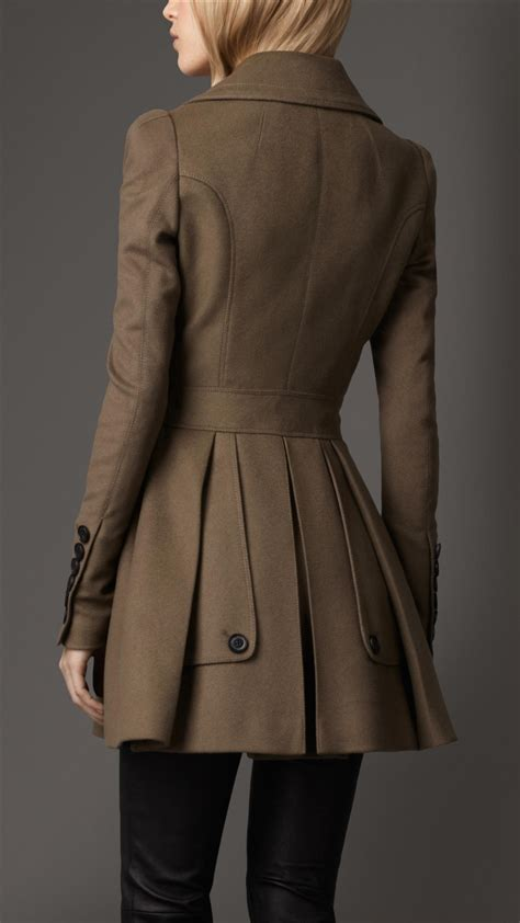 Lyst - Burberry Fitted Wool Cashmere Pea Coat in Brown