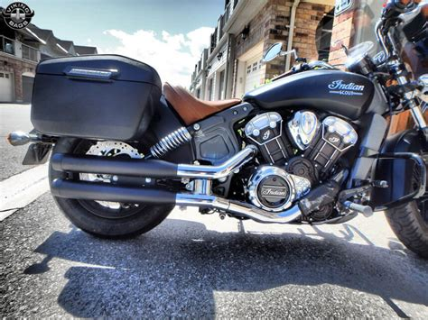 Indian Scout Lamellar Large Leather Covered Hard Saddlebags