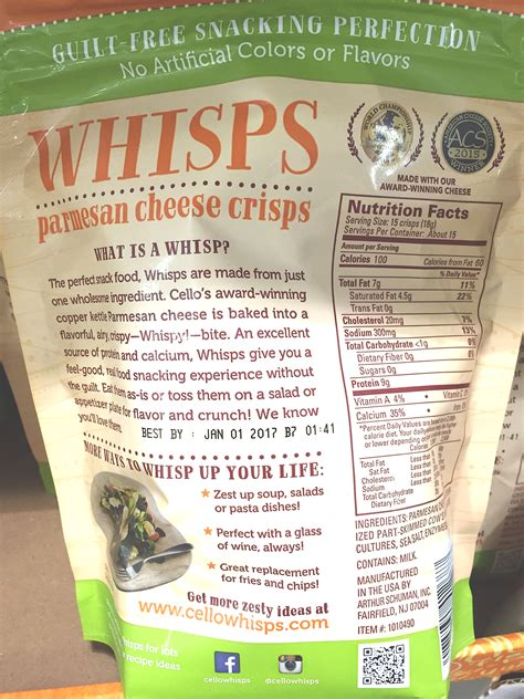 Cello Whisps Parmesan Cheese Crisps Product Ingredients