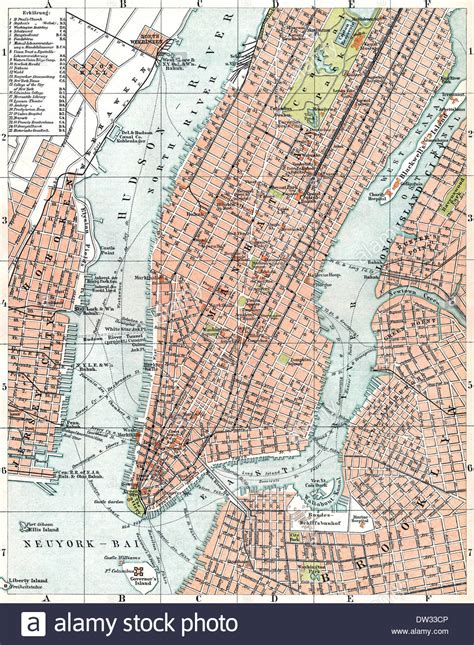 Historical map of New York City, USA, 1896 Stock Photo