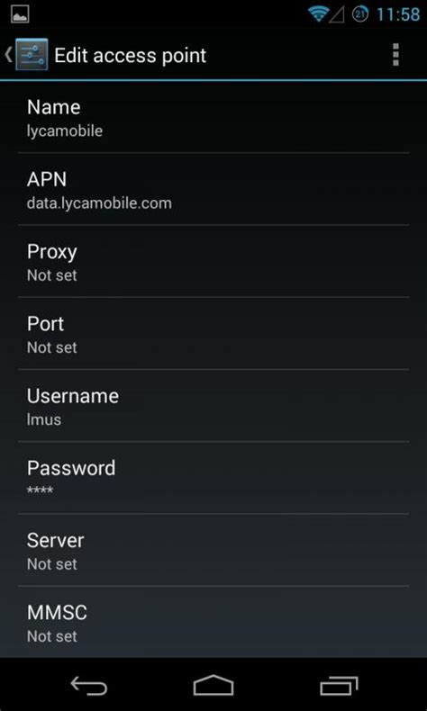 Lycamobile US APN Settings for android 4