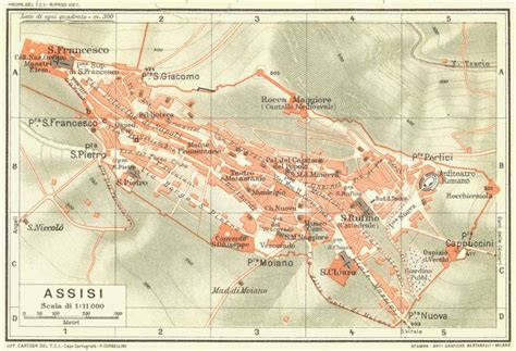 ASSISI Vintage town city map plan Italy 1927