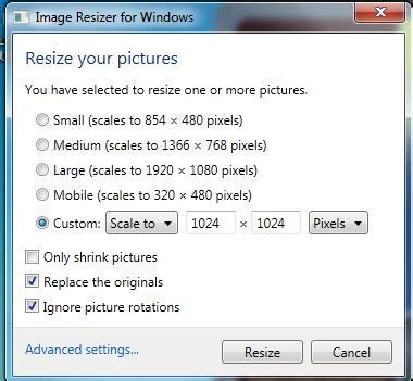 Updated Learning: Resize Pictures Windows 7