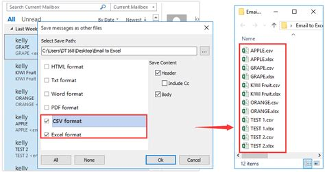 How to export all emails from an Outlook mail folder to