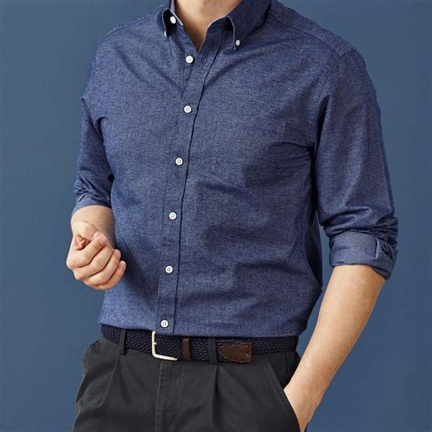 Denim blue washed Oxford Classic fit shirt   Men's casual