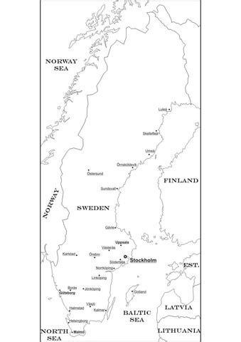 Sweden Map coloring page | SuperColoring
