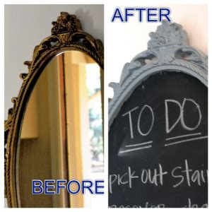 Chalkboard Spray Painted Mirror   The Steen Style
